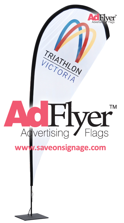 Triathlon Victoria choose AdFlyer for their teardrop flags